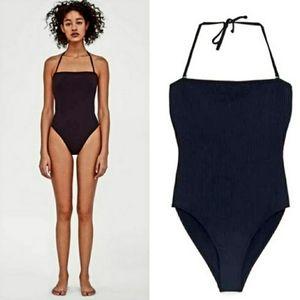 Zara Black Ribbed Swimsuit. Size Medium.